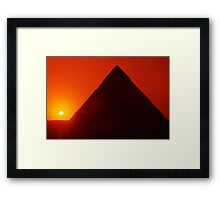 Egypt. Cairo. Giza. Sunset behind The Sphinx and Chephren Pyramid. Framed Print