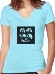 The Beagles (black edition) Women's Fitted V-Neck T-Shirt