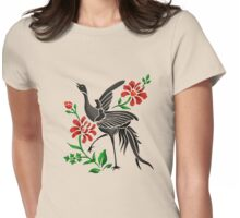 Crane and Flowers Womens Fitted T-Shirt