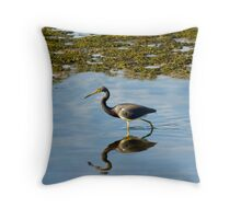 Tri Colored Heron Throw Pillow