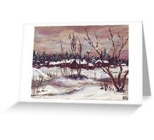 Russian village in winter time oil painting Greeting Card