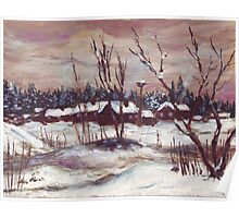 Russian village in winter time oil painting Poster
