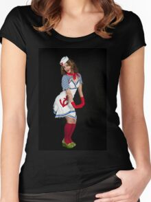 Sexy female sailor  Women's Fitted Scoop T-Shirt