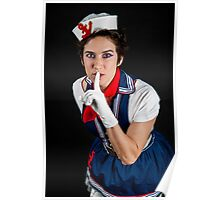 fancy dress female sailor quiet gesture  Poster