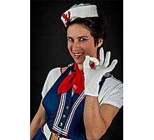 Fancy dress female sailor OK gesture  Photographic Print