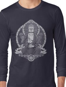 Gautama Buddha White Halftone Long Sleeve T-Shirt