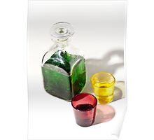 Still life in green On white Background Poster