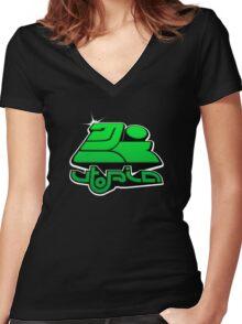 utopia interdimensional airways - green Women's Fitted V-Neck T-Shirt