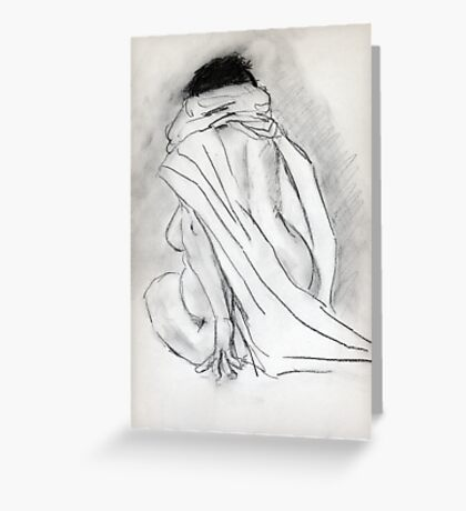 Model draped in heavy cloth 060 Greeting Card