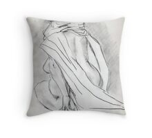 Model draped in heavy cloth 060 Throw Pillow