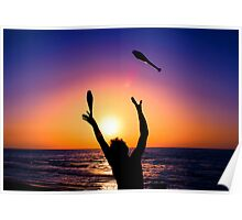 Silhouette of a man juggling on a beach at sunset  Poster