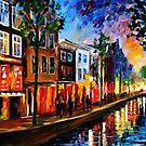 Amsterdam, Red Lights — Buy Now Link - www.etsy.com/listing/211932026 by Leonid  Afremov