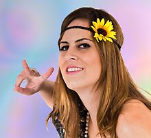 Teen Hippie flower child on psychedelic background  by PhotoStock-Isra