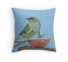 Bellbird Oil Painiting - Southland New Zealand Throw Pillow