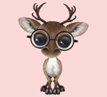 Cute Curious Nerdy Reindeer Wearing Glasses Pink Baby Tee