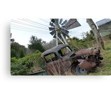 Waiting for the windmill to turn! Old car & Windmill - Invercargill - New Zealand Canvas Print