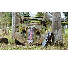Cut the rope, & I'll be on my way! - Old car - Southland - New Zealand Photographic Print
