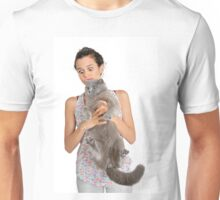 surprised owner as she holds a British Shorthair cat Unisex T-Shirt