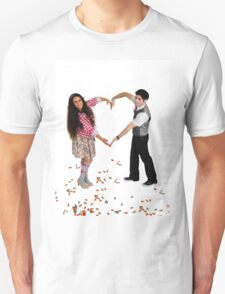 Young couple forms a heart shape with their arms  Unisex T-Shirt