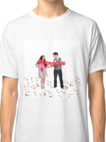 Young Couple with a heart shaped paper chain  Classic T-Shirt