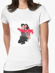 Young Couple with a heart shaped paper chain  Womens Fitted T-Shirt