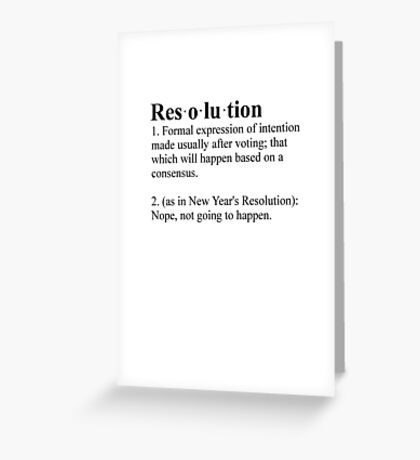 Definition: New Year's Resolution Greeting Card
