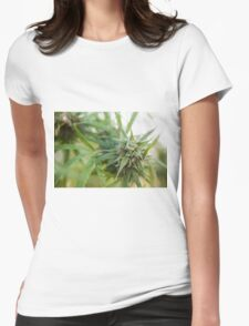 Cannabis flower and leaves  Womens Fitted T-Shirt