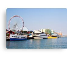 Navy pier with Ferris wheel Chicago harbor Illinois, USA  Canvas Print