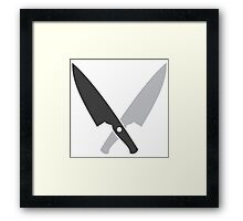 Crossed chef knives (Two knife) Framed Print