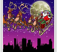 Here comes Santa Claus - Birmingham skyline by Richard Bell