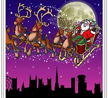 Here comes Santa Claus - Bristol skyline by Richard Bell