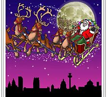 Here comes Santa Claus - Liverpool skyline by Richard Bell