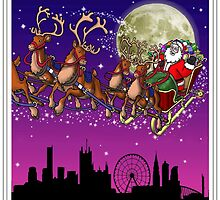 Here comes Santa Claus - Manchester skyline by Richard Bell