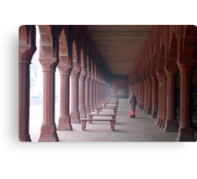 Indian woman in Taj Mahal gardens Canvas Print