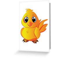 Cute cartoon yellow chicken with blue eyes. Greeting Card