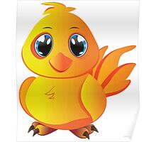 Cute cartoon yellow chicken with blue eyes. Poster