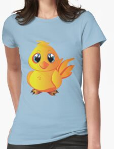 Cute cartoon yellow chicken with blue eyes. Womens Fitted T-Shirt