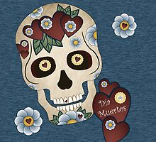 Sugar Skull Hearts and Blue Flowers Denim Background by Joanne Rawson