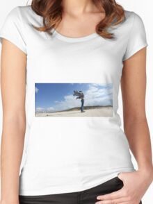 Spiritual young woman communicates with the spirits on a beach Women's Fitted Scoop T-Shirt