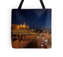 Jerusalem, Old City. The illuminated walls at night  Tote Bag