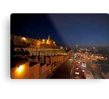 Jerusalem, Old City. The illuminated walls at night  Metal Print