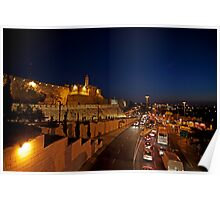 Jerusalem, Old City. The illuminated walls at night  Poster