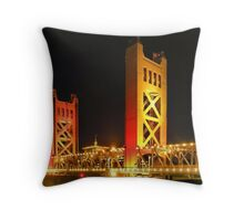 Tower Bridge over the Sacramento River, Sacramento, California Throw Pillow
