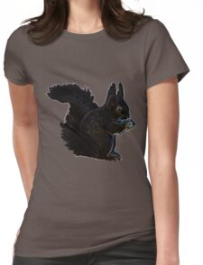 Squirrel blue and orange swirl Womens Fitted T-Shirt