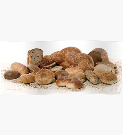 Various types of freshly backed bread Poster