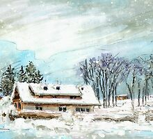 Cottage In The Black Forest In Germany Blue by Goodaboom