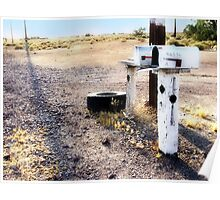 mailboxes, route 66, amboy, california Poster