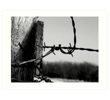 Barbed Fence Post Art Print
