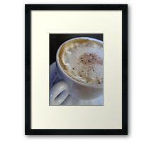 A cup of Cappuccino Coffee. Close - up Framed Print