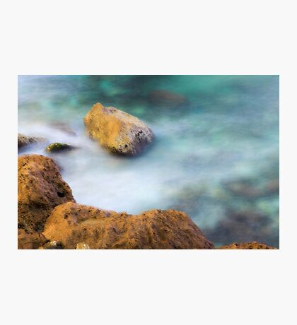 misty water spray and rocks Photographic Print